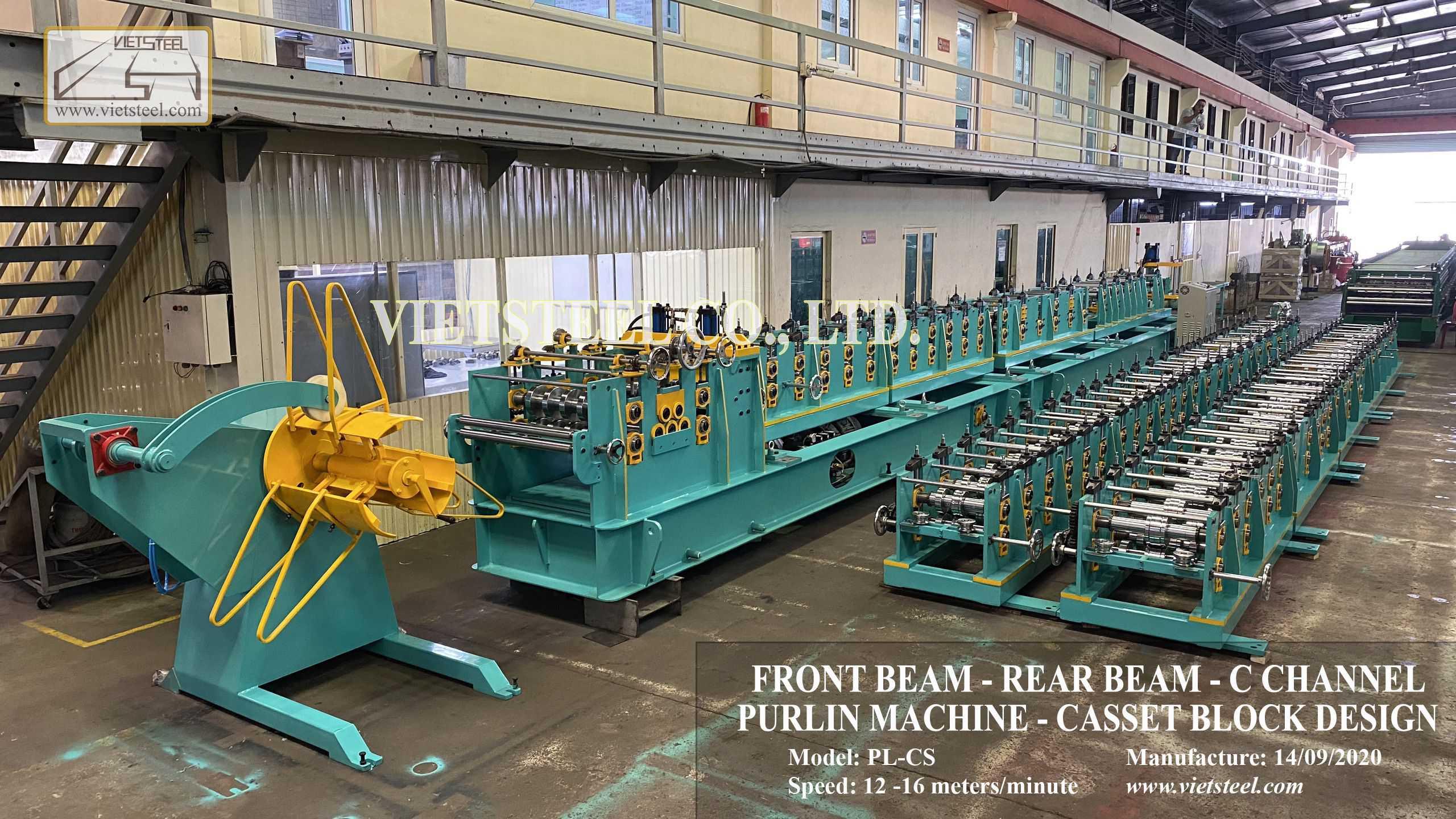 FRONT BEAM - REAR BEAM - C CHANNEL PURLIN MACHINE - CASSET BLOCK DESIGN Vietsteel