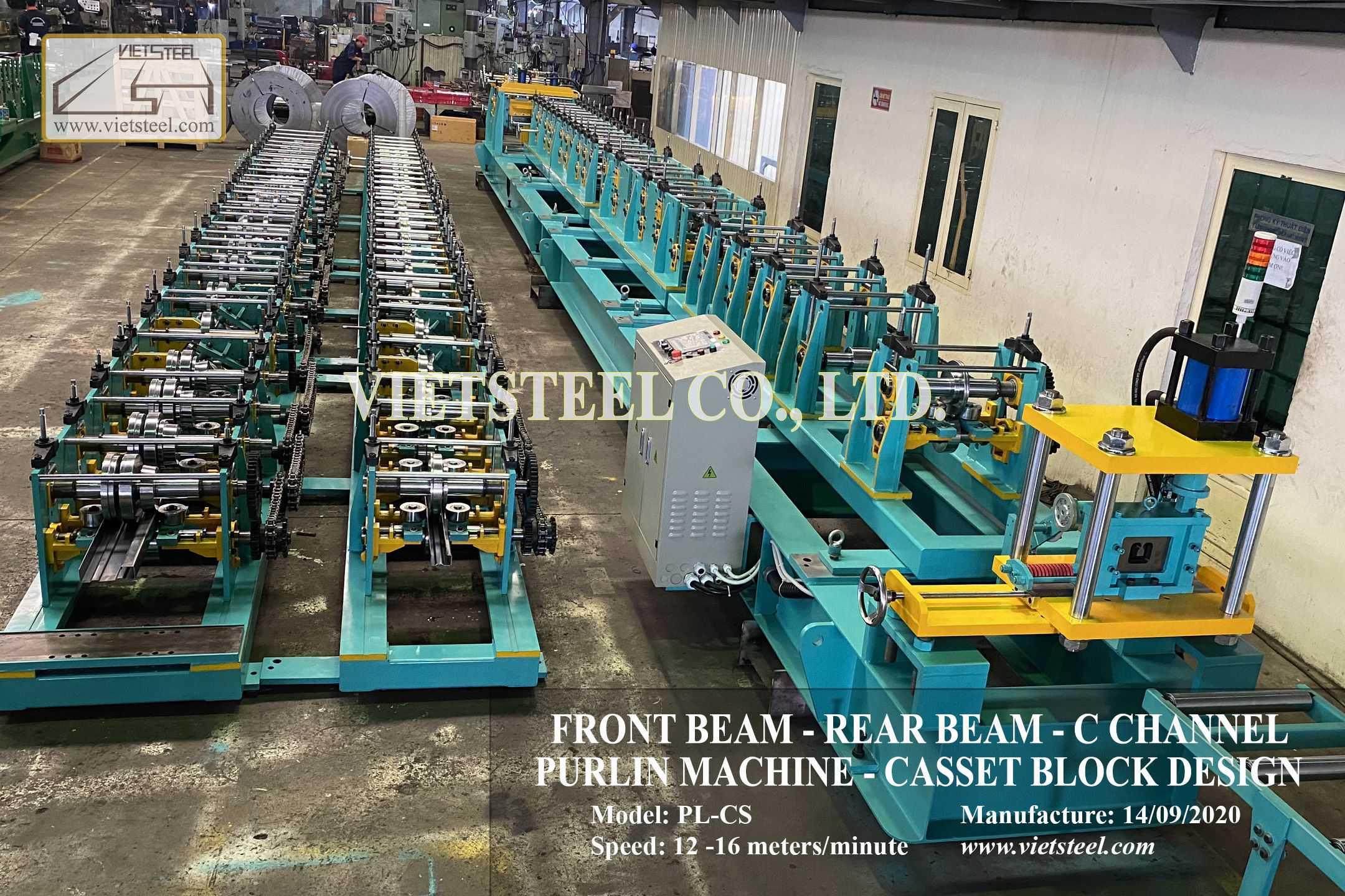 FRONT BEAM - REAR BEAM - C CHANNEL PURLIN MACHINE - CASSET BLOCK DESIGN