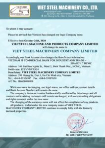 COMPANY NAME CHANGE [News 2020] Vietsteel